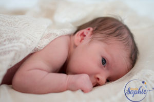 Newborn shoot in Mums wedding dress-27